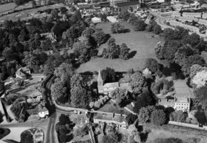 St Stephen's church, vicarage and houses opposite 1948 courtesy Aerofilms