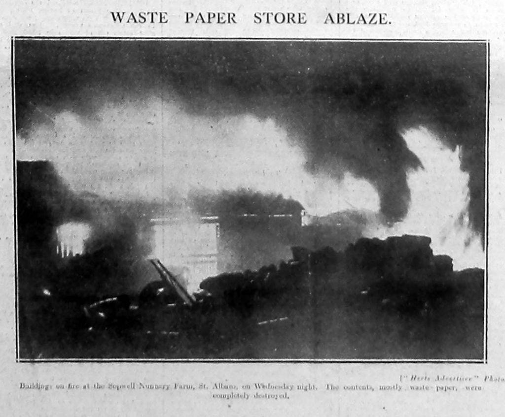 Sopwell Nunnery Farm fire 1931
