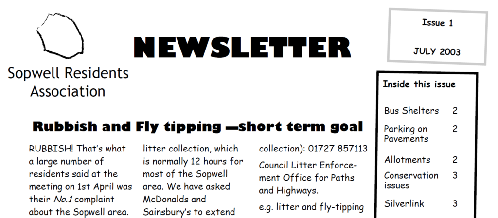 Front page of SRA Newsletter no 1 July 2003